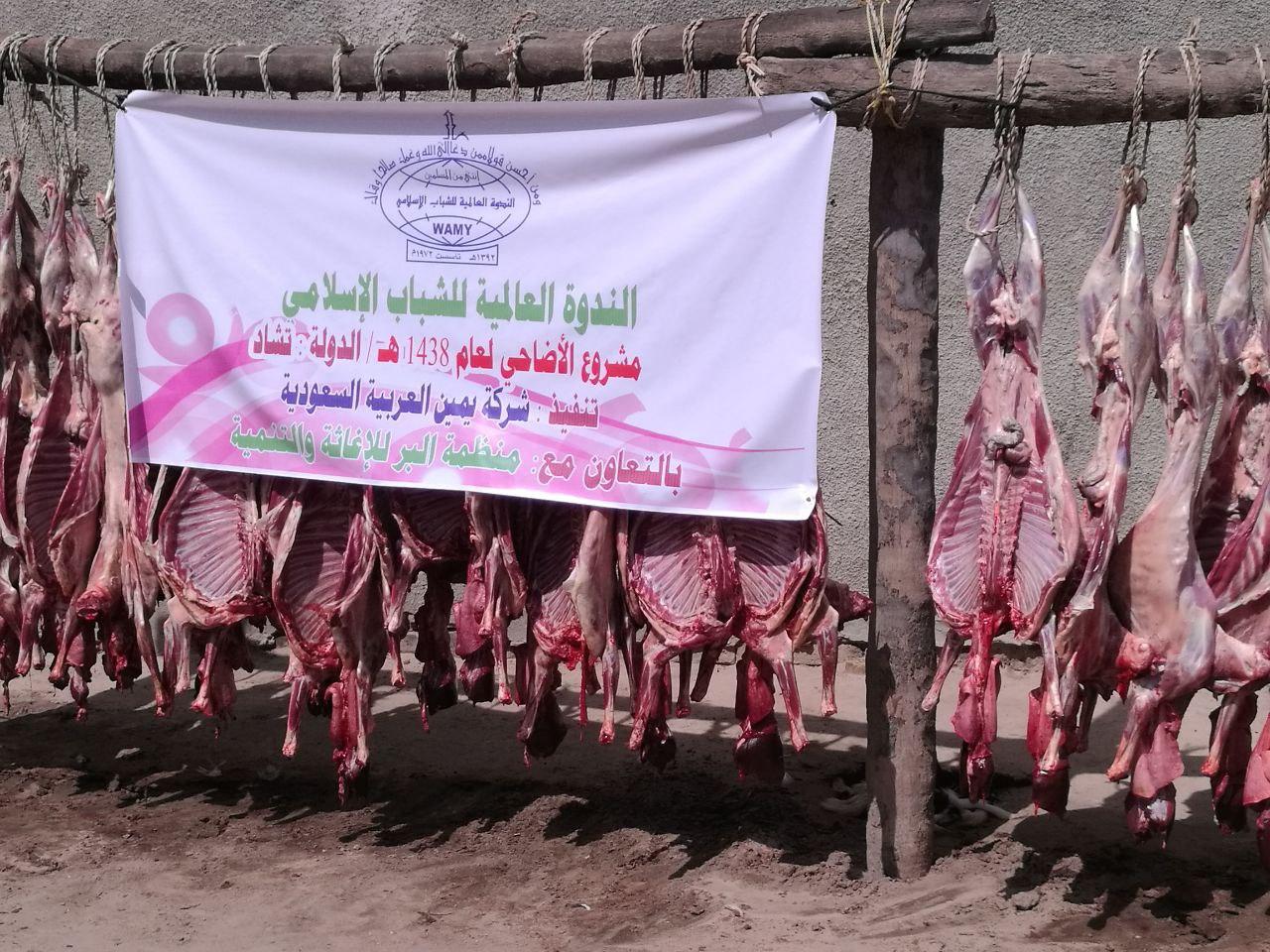 بالتعاون مع الندوة العالمية للشباب الإسلامي تم ذبح 37 رأس من الأغنام وتم توزيعها على 170 أسرة